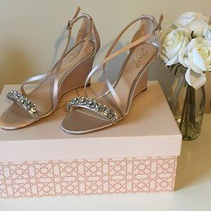 Badgley Michska Crystal Embellished Wedge Heels